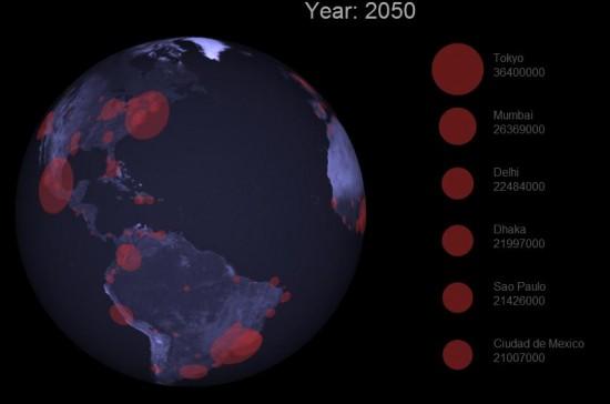 Infografía animada crecimiento población mundial en las ciudades